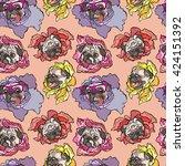 dog. pug. flower. seamless... | Shutterstock .eps vector #424151392