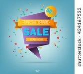 super sale paper banner. super... | Shutterstock .eps vector #424167532