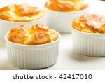 Parmesan and Gruyere cheese souffle - stock photo