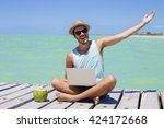 young hipster using his smart...   Shutterstock . vector #424172668
