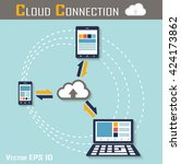 cloud connection   smartphone   ... | Shutterstock .eps vector #424173862