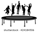 children silhouettes jumping on ... | Shutterstock .eps vector #424184506