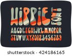 smooth hippie font filled with... | Shutterstock .eps vector #424186165