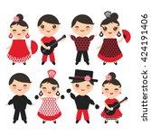 spanish flamenco dancer   card  ... | Shutterstock .eps vector #424191406