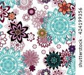 mandala pattern  floral... | Shutterstock . vector #424199356