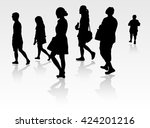 people silhouette walking... | Shutterstock .eps vector #424201216