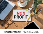 non profit open book on table... | Shutterstock . vector #424212256
