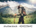 man explorer with backpack... | Shutterstock . vector #424225642