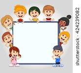 children peeping behind placard ... | Shutterstock . vector #424239082