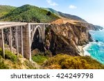 Bixby Creek Bridge on Highway #1 at the US West Coast traveling south to Los Angeles, Big Sur Area, California