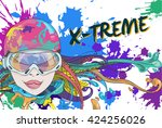 cute girl with goggles for... | Shutterstock .eps vector #424256026