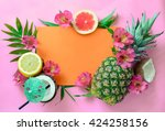tropical fruits background with ... | Shutterstock . vector #424258156