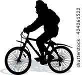 vector silhouette of the cyclist | Shutterstock .eps vector #424261522