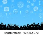 a crowd of people and fireworks.... | Shutterstock .eps vector #424265272