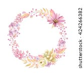 cute wreath with leaves ... | Shutterstock .eps vector #424266382