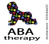 black lettering aba therapy and ...   Shutterstock .eps vector #424266652