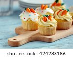 Easter Cupcakes On Cutting...