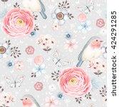 seamless pattern with birds... | Shutterstock .eps vector #424291285