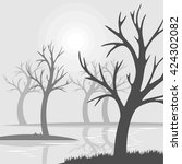 bare trees on a swamp fog with...   Shutterstock .eps vector #424302082