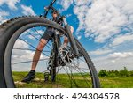 Riding Modern Mountain Bike. Mountain Bike Getaway Plan. - stock photo