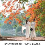 vietnamese girls wear ao dai... | Shutterstock . vector #424316266
