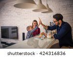 giving high five to daddy while ... | Shutterstock . vector #424316836