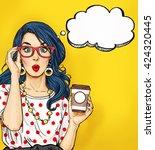 surprised pop art woman in... | Shutterstock . vector #424320445
