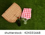 top view picnic basket with wine | Shutterstock . vector #424331668