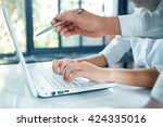business working with laptop in ... | Shutterstock . vector #424335016