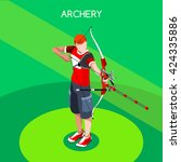 archery male player aiming with ... | Shutterstock .eps vector #424335886