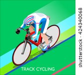 track cycling cyclist character ... | Shutterstock .eps vector #424340068
