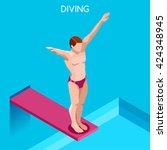 diver swimmer trampoline...   Shutterstock .eps vector #424348945