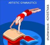 artistic gymnastics vault... | Shutterstock .eps vector #424357666