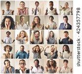 jubilant people | Shutterstock . vector #424357798
