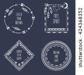 hand drawn boho style frames... | Shutterstock .eps vector #424368352
