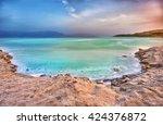 view of dead sea coastline at... | Shutterstock . vector #424376872