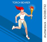 athletics torch bearer baton... | Shutterstock .eps vector #424381732