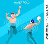 Swimming Water Polo Players...