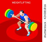 weightlifting athlete sportsman ... | Shutterstock .eps vector #424381816