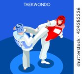 taekwondo fight wrestling... | Shutterstock .eps vector #424382236