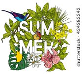 card with word summer and... | Shutterstock .eps vector #424382242