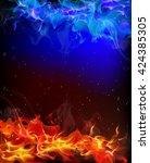 background of red and blue fire | Shutterstock .eps vector #424385305