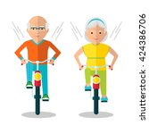 old man and old woman riding... | Shutterstock .eps vector #424386706