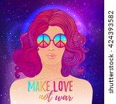 hippie fashion girl in... | Shutterstock .eps vector #424393582