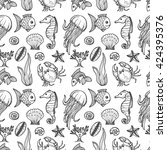 seamless pattern with cute hand ... | Shutterstock .eps vector #424395376