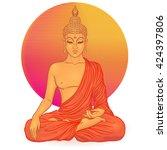 sitting buddha over orange...   Shutterstock .eps vector #424397806
