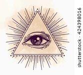 eye of providence. masonic... | Shutterstock .eps vector #424398016