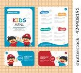 cute colorful kids meal menu... | Shutterstock .eps vector #424408192