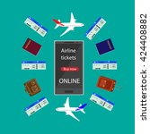 internet airline. booking... | Shutterstock .eps vector #424408882