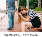 breakup of a couple with sad... | Shutterstock . vector #424414786